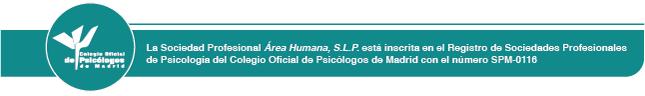 Distintivo Colegio Oficial de Psicólogos de Madrid del Centro de Psicología Área Humana