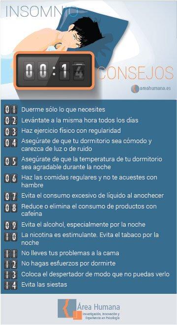 Infografía sobre consejos en el insomnio