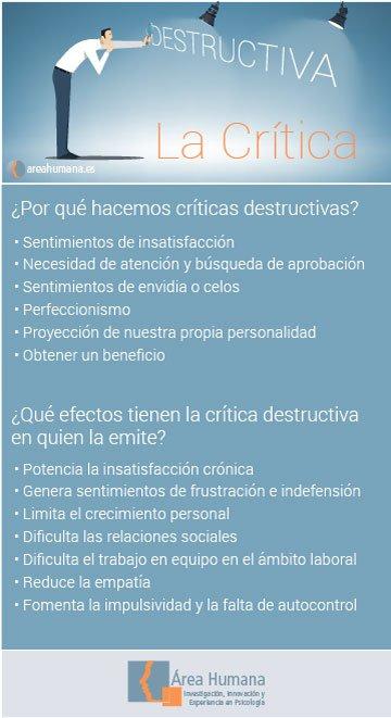 Infografía sobre crítica destructiva